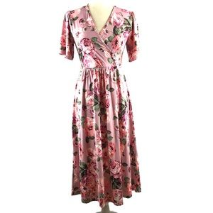 Orange Creek Pink Floral Surplice Dress
